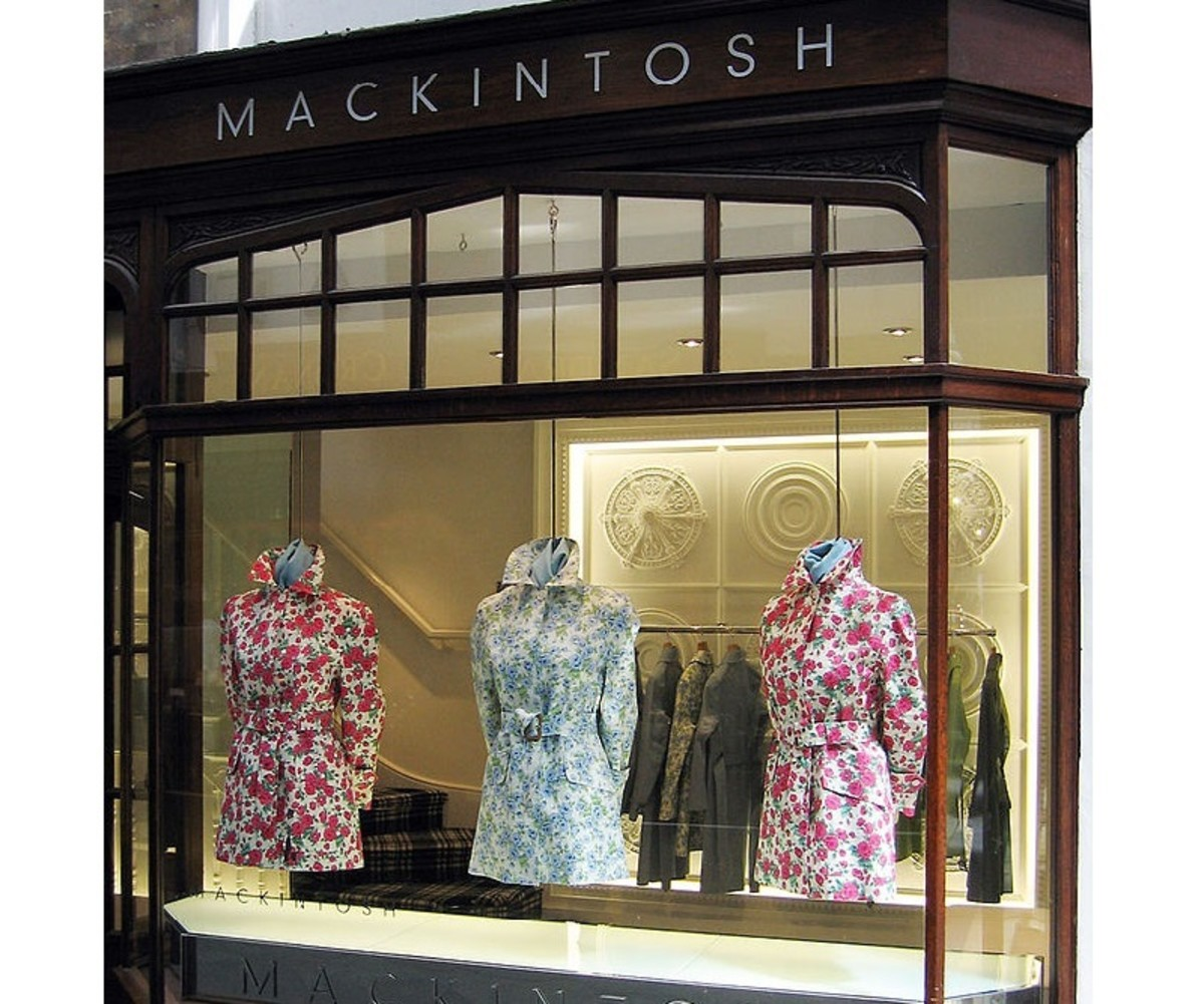 A window display for the Mackintosh brand in upmarket Burlington Arcade, London.