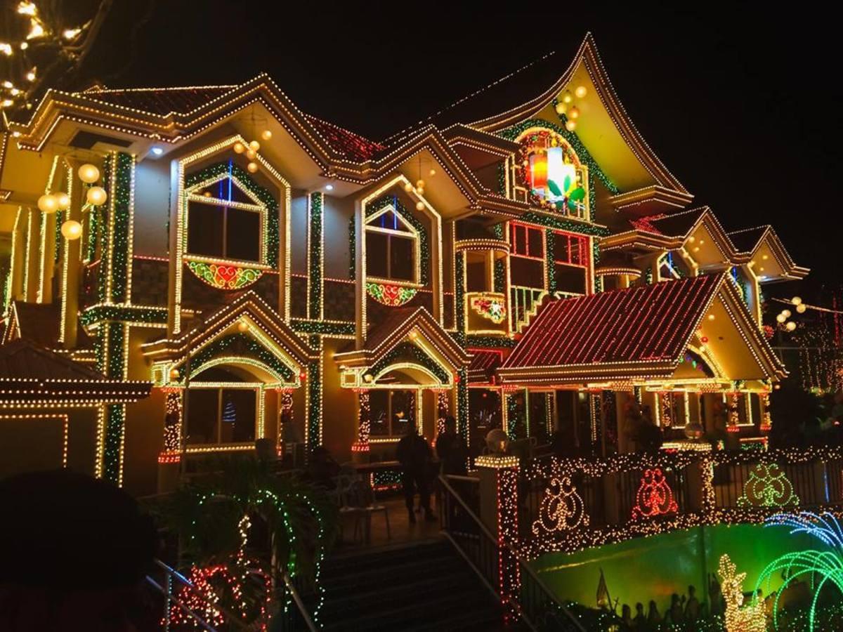 Beautifully lit Municipal Hall in Carmen, Agusan Del Norte, Philippines.