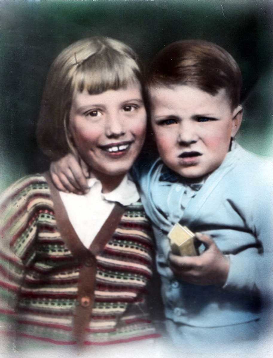 This is a hand coloured photograph of me and my brother.
