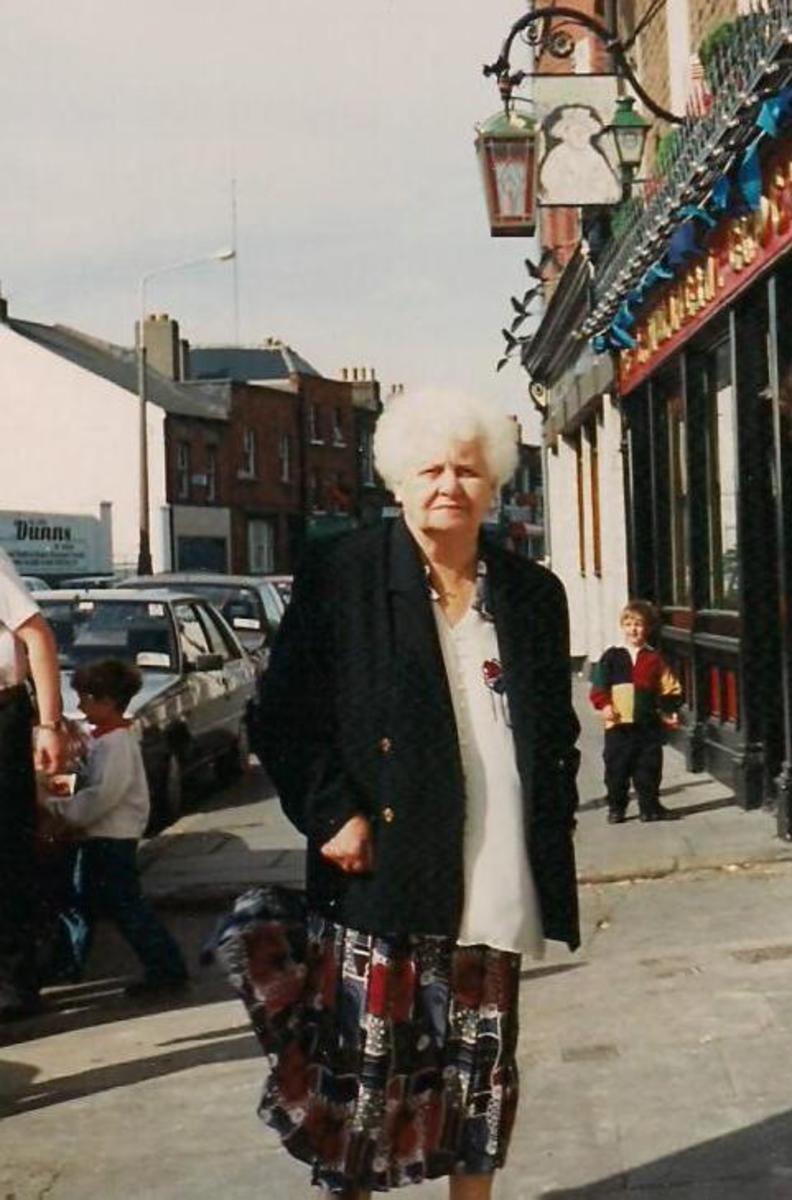 Bridget Maguire in Manor Street Stoneybatter.1993. Age 84.