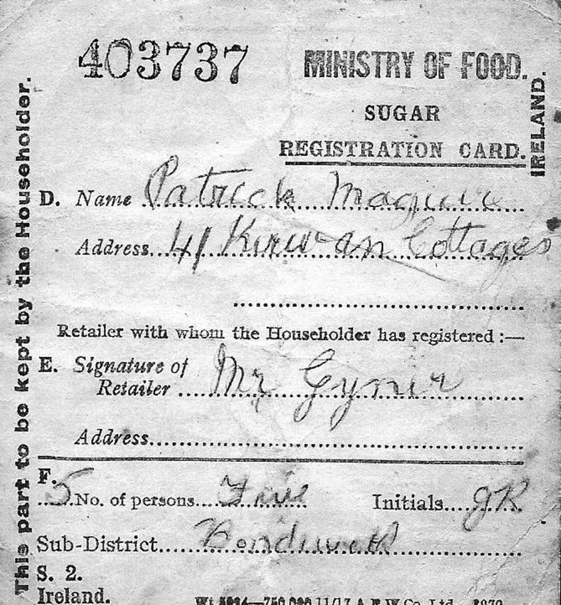 Irish Sugar Ration Book 1918 First World War
