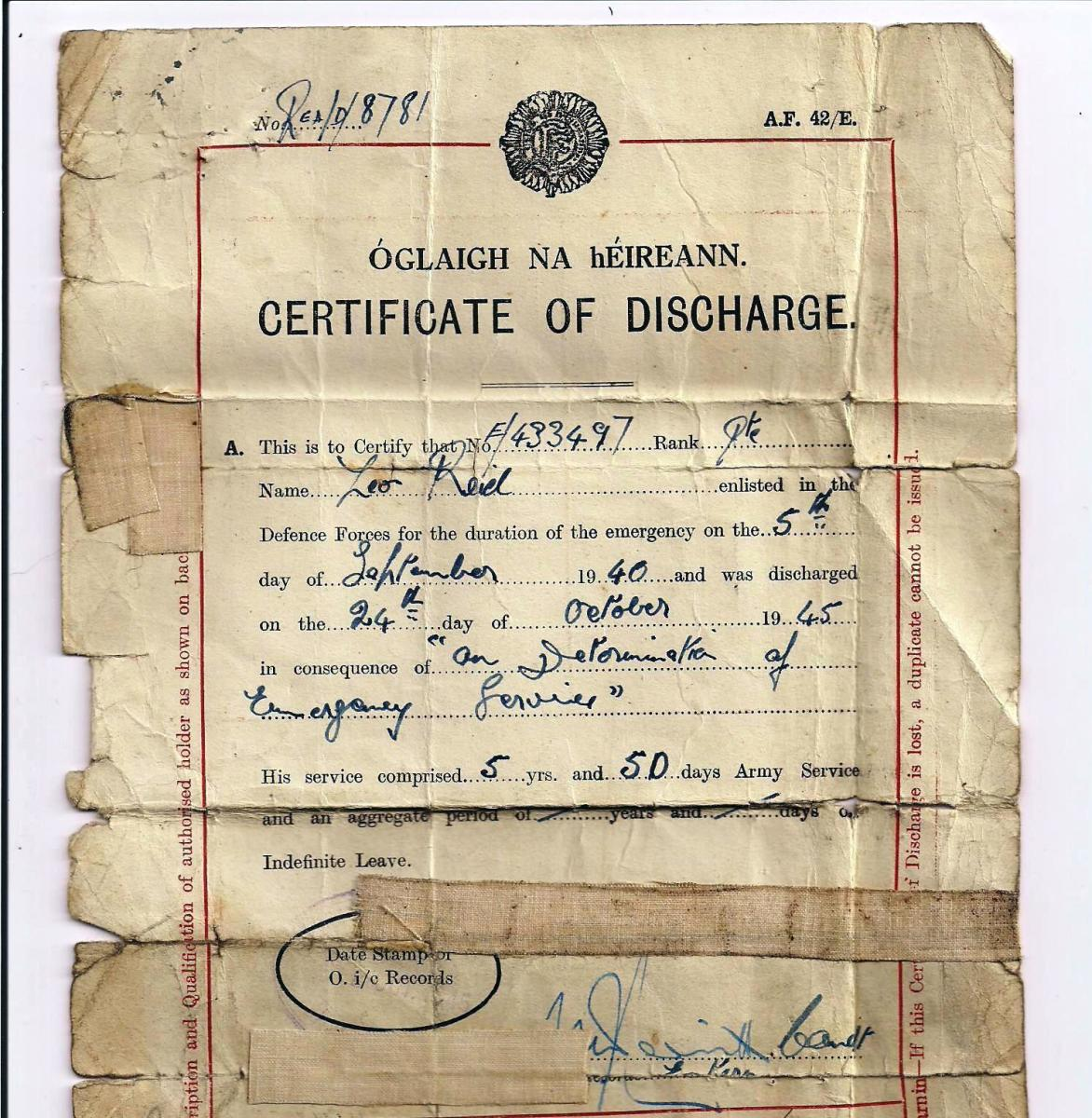 Irish Army discharge papers of Leo Reid