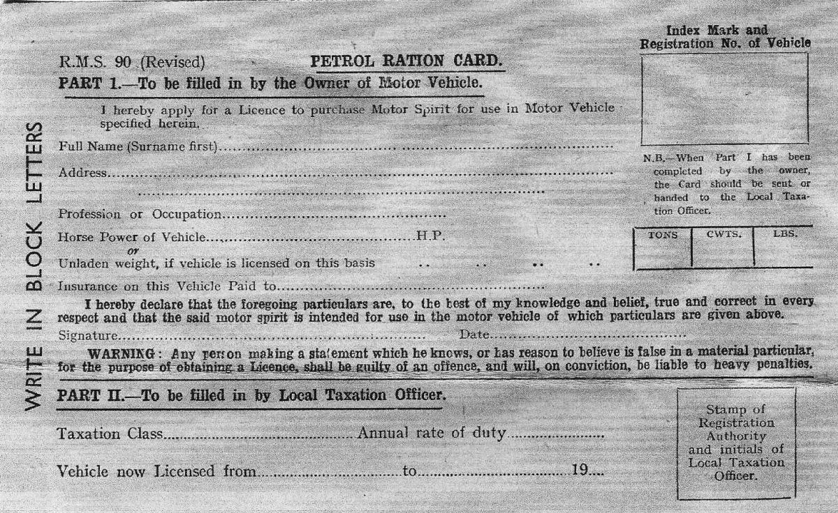 Irish Petrol Ration Card during WW2