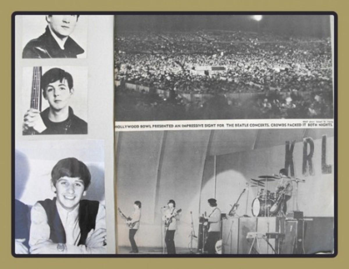 scrapbook clippings of 1965 Beatles concert