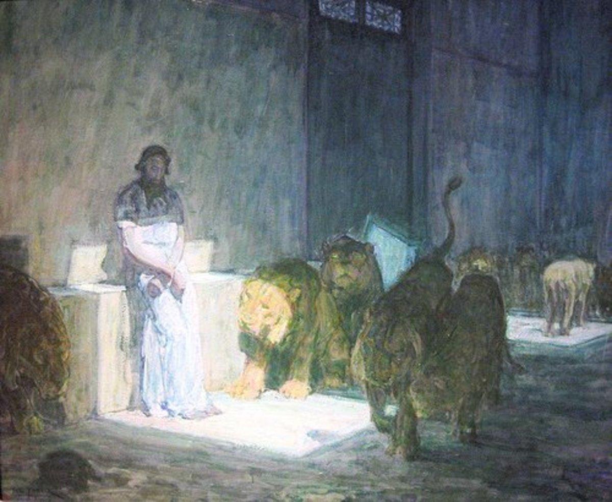 Daniel and the lion's den.