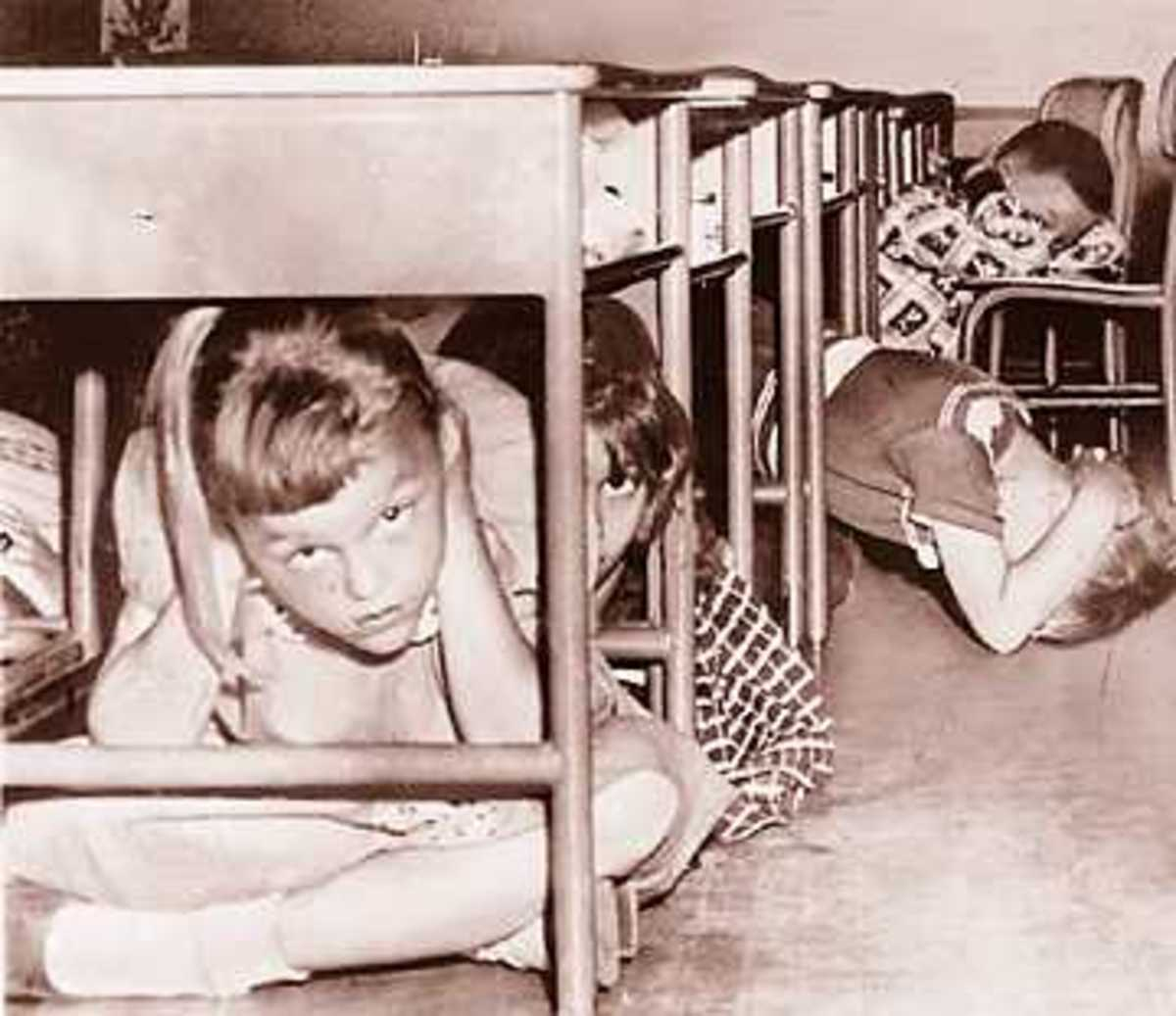 Under desks was one place to duck and cover.