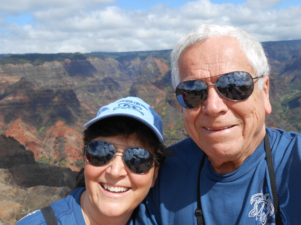 Here we are at Waimea Canyon on a cruise to Hawaii.