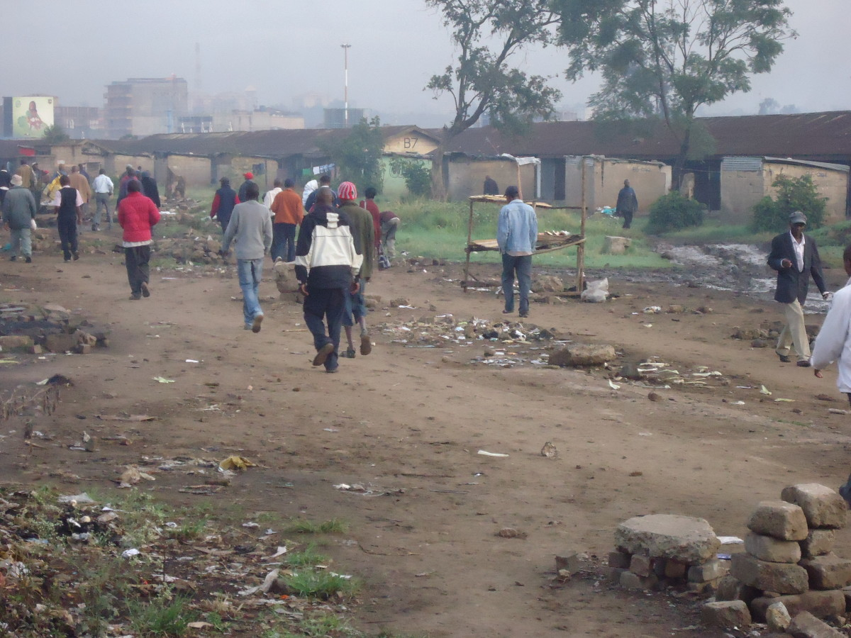 Nairobians walking to their places of work