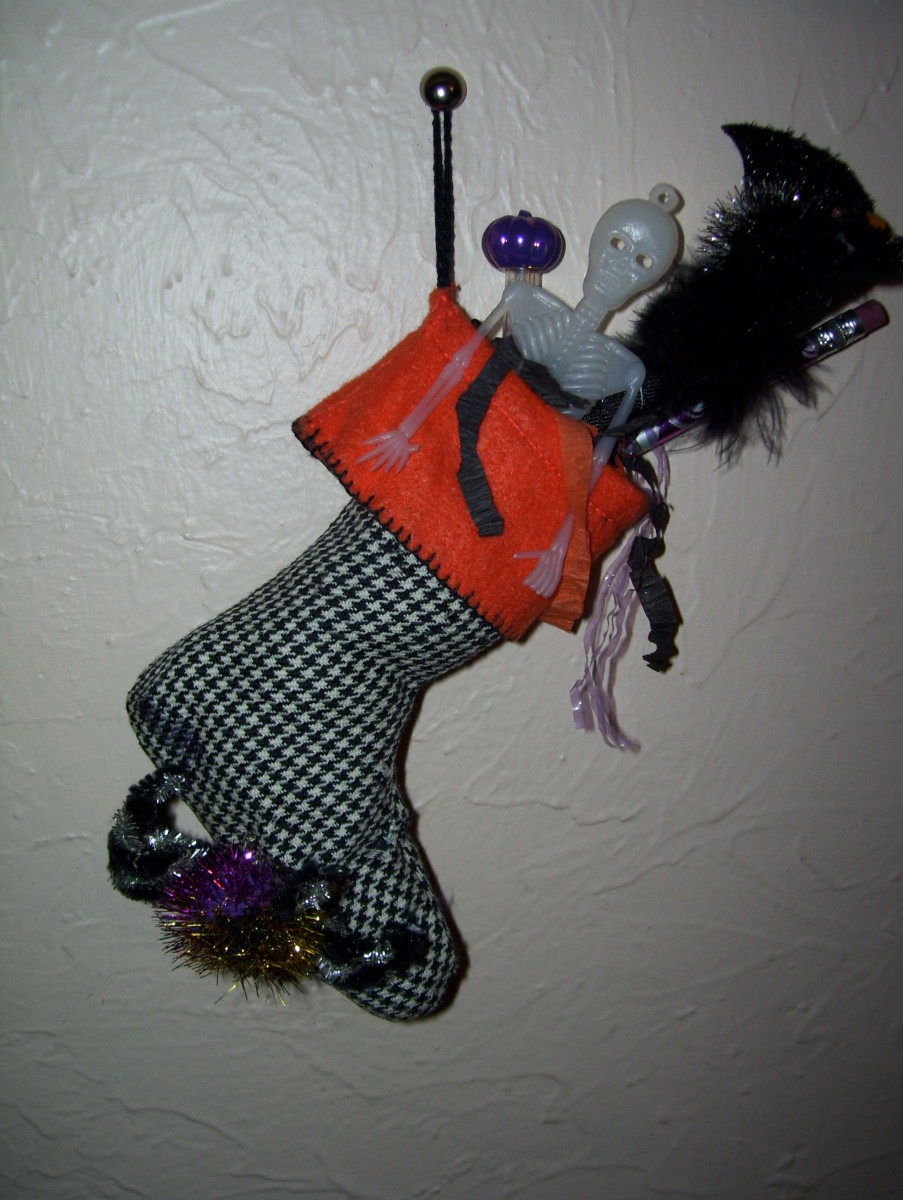 Stockings aren't just for Christmas! This one is full of ghoulish goodies for little tricksters!
