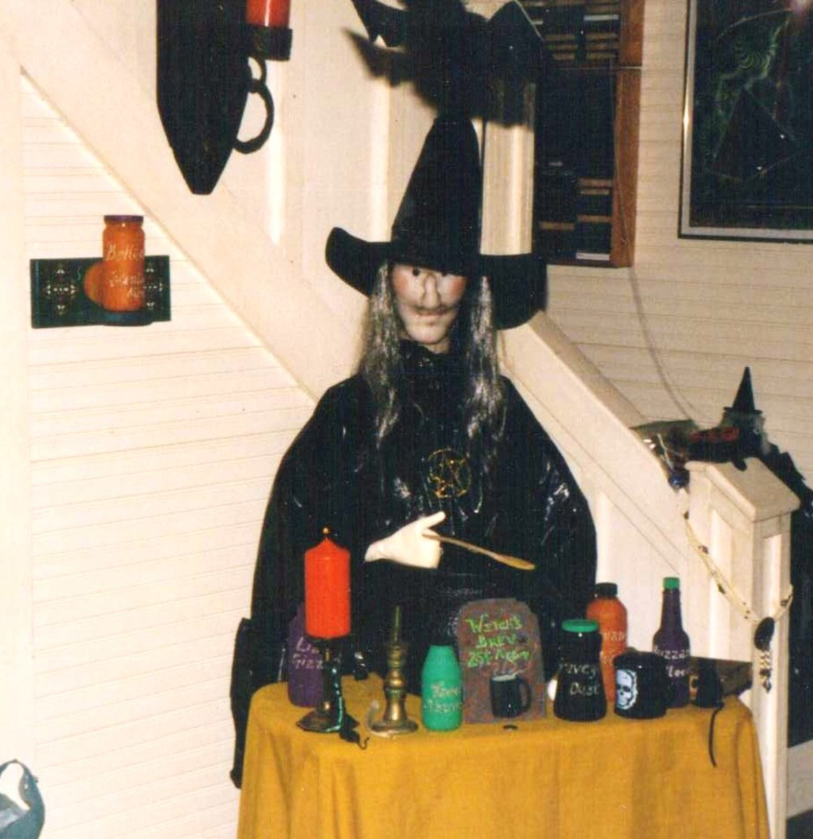 A surviving photo of Mabel at her potion stand.