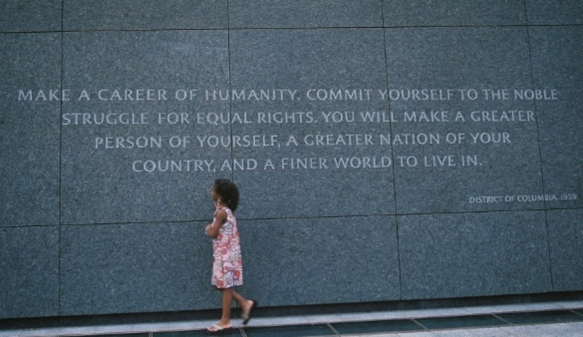 A young girl takes in the message at the Martin Luther King, Jr. National Memorial in Washington, DC.
