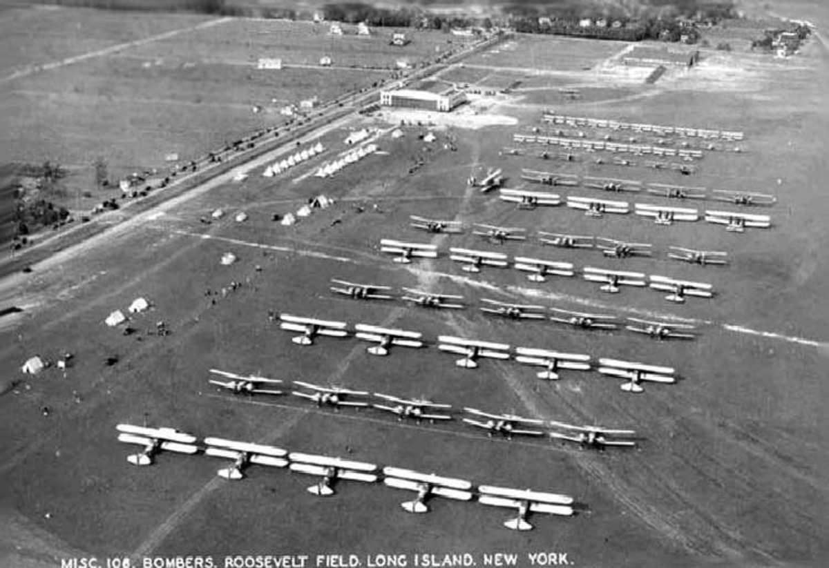 Roosevelt Field Circa 1920. The hanger at the top of the photo became Spaceland thirty-eight years later.