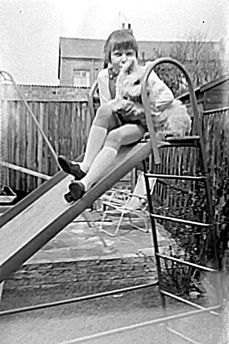 Here I am about to go down my slide in the back garden in the 1970s, with my dog Mitzie on my knee.