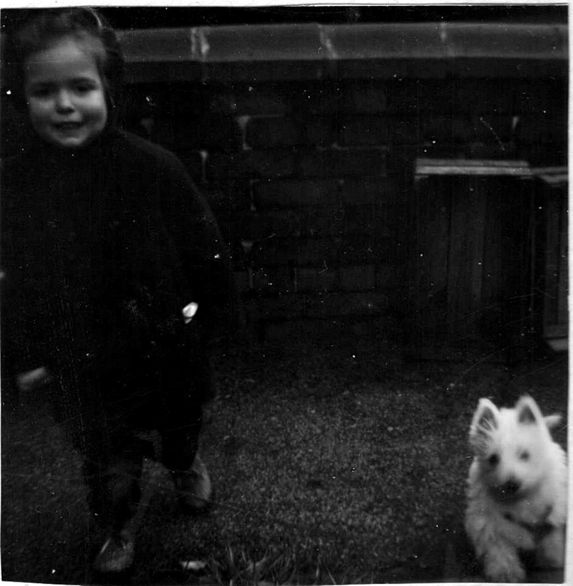 Me aged about 18 months with Mitzie - my West Highland Terrier - when she was a tiny puppy. We were inseparable from this time onwards.