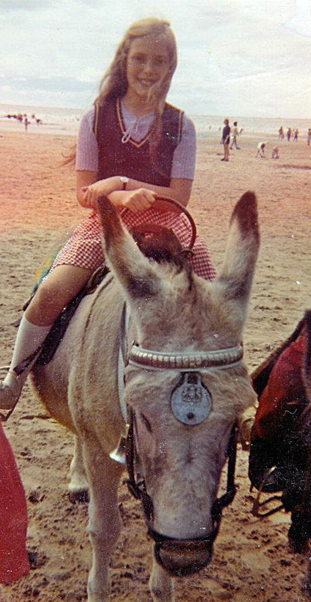 Me riding a donkey on the beach in the 1970s.