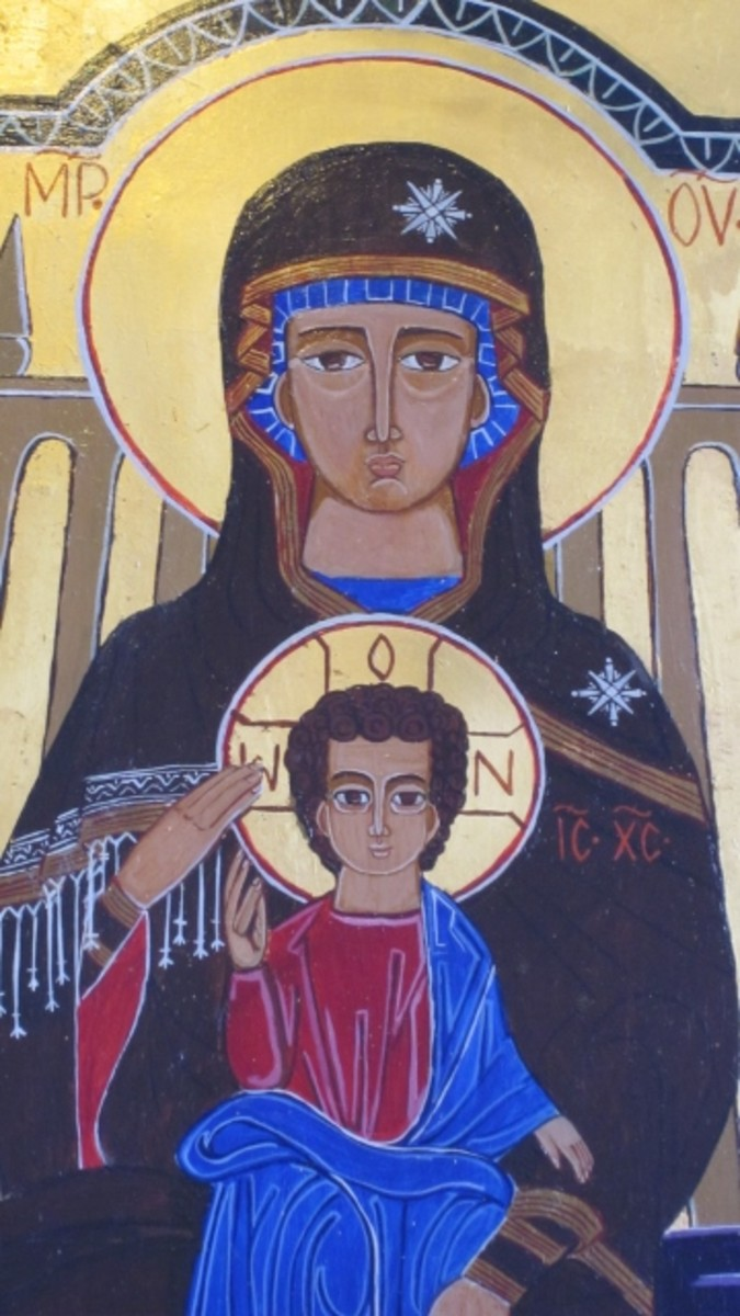 This Byzantine Madonna and Child lithograph hangs in the narthex of Saint George's Episcopal Church in Washington, DC.