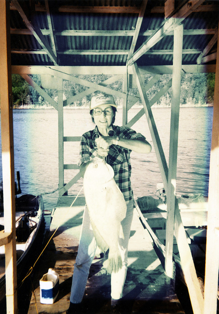 Mom was 68 in this photo; she could still out fish most. :)