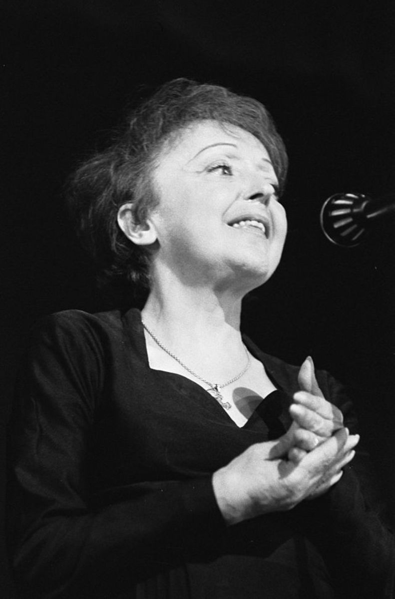 Edith Piaf performing in Rotterdam, Holland.