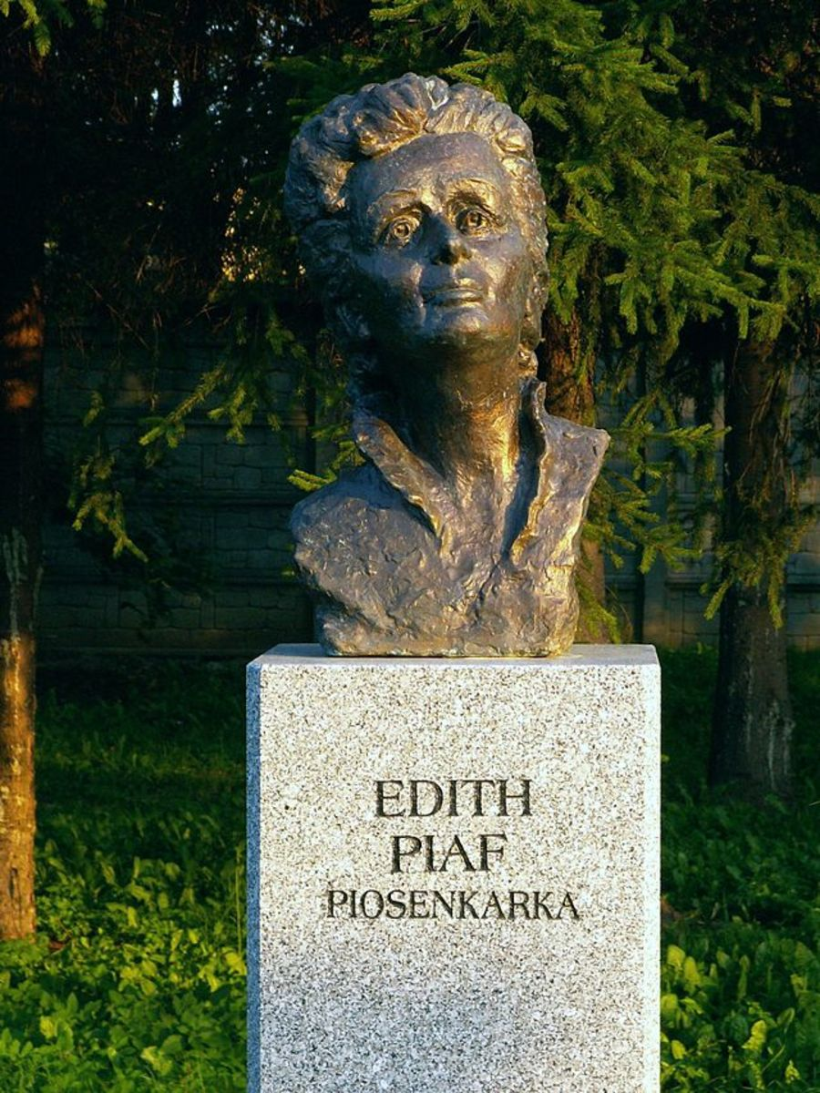 A bust of Edith Piaf can be found in a park in Poland.