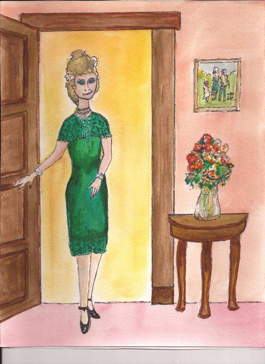 Mom loved her spectacular emerald dress.