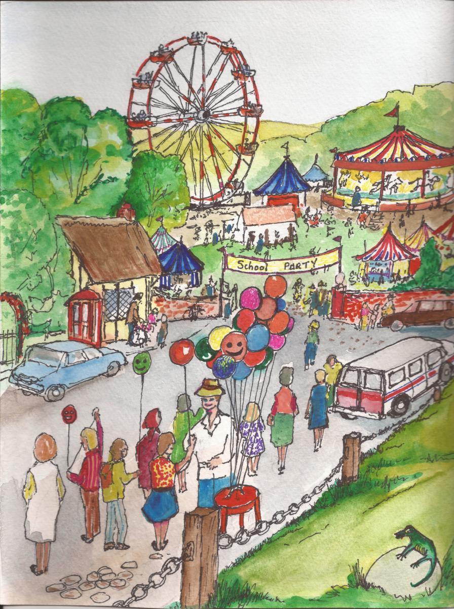 Elisa rode the Giant Ferris Wheel with her School Friends.