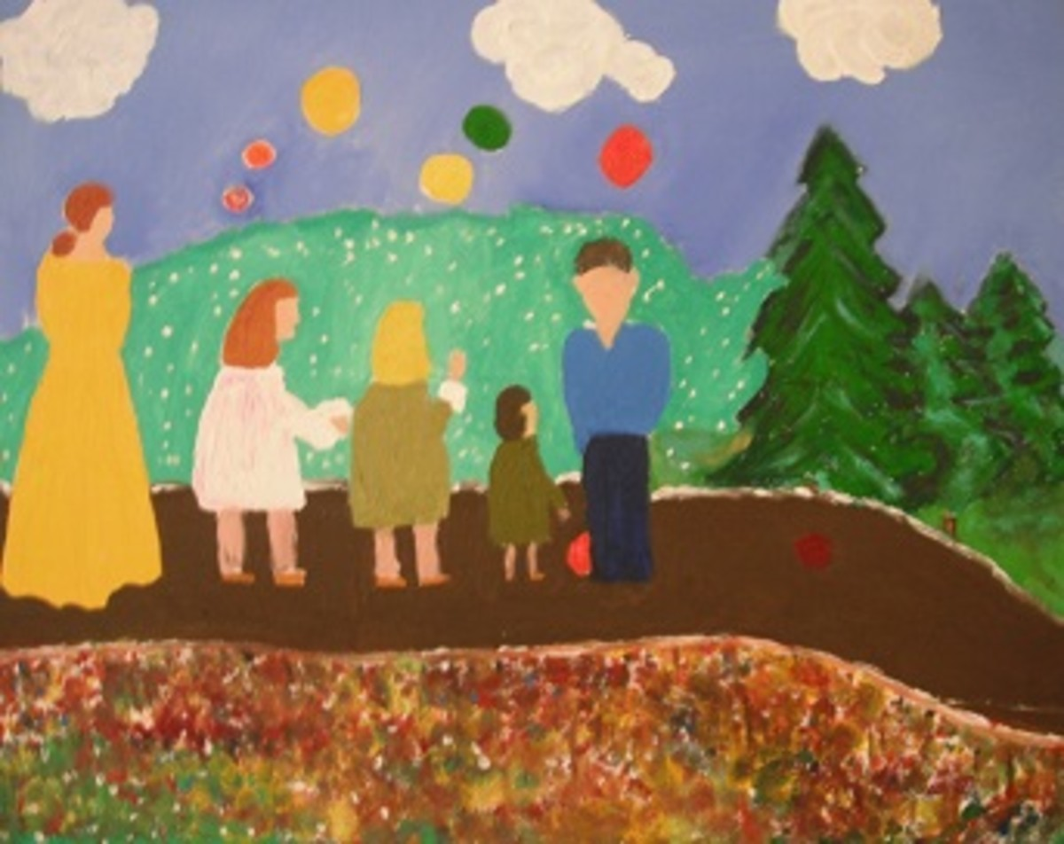 Kenny Loved to Paint Children and Balloons with Parents in a Park Setting.