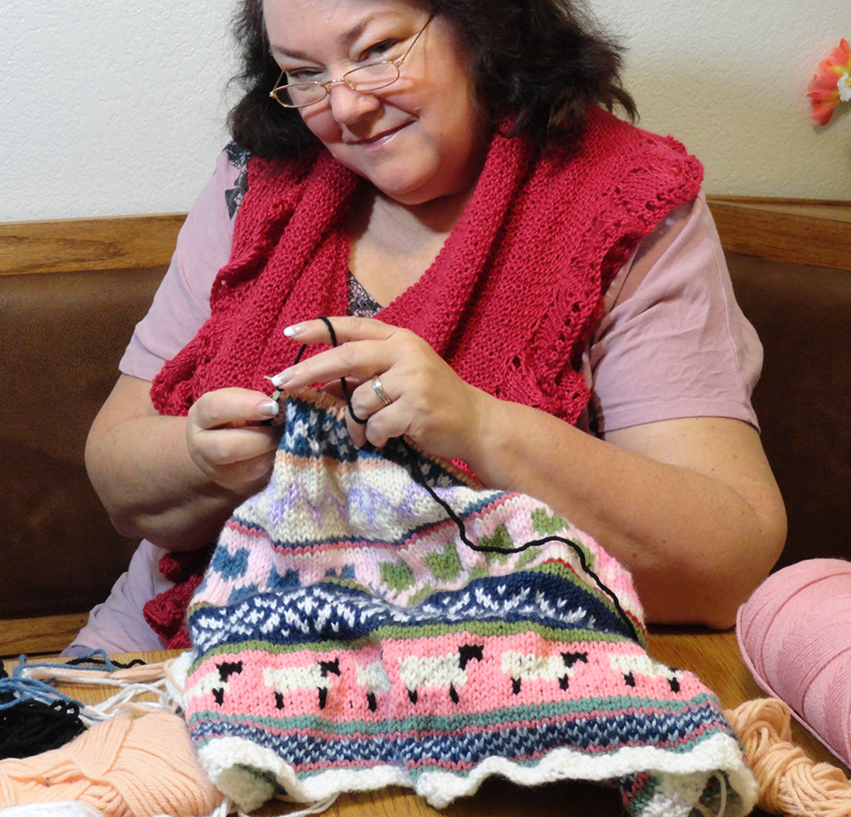 Me knitting for my grandkids.