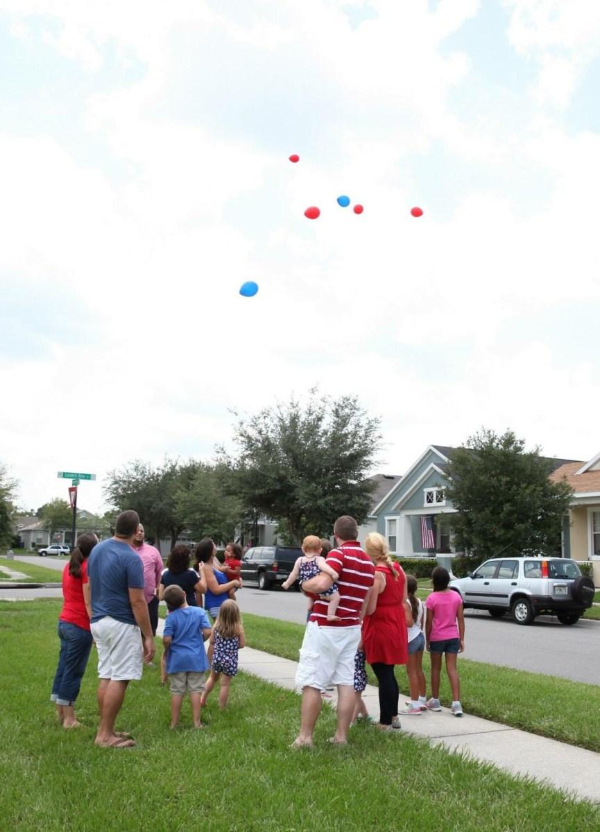 Sending balloons to Gramps, Dad, Dave, Cap...