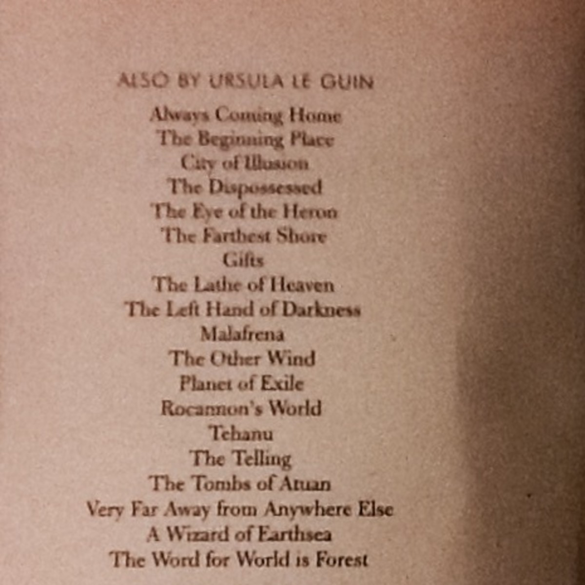 List of Titles by Ursula Le Guin