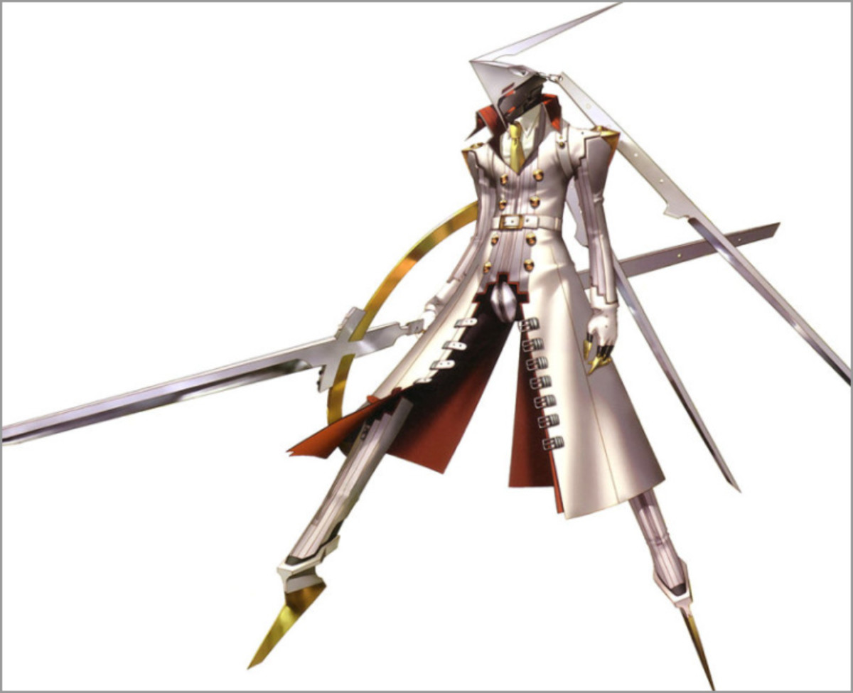 Concept art for Izanagi in the PlayStation 2 video game, Persona 4. The end boss in this game is Izanami.