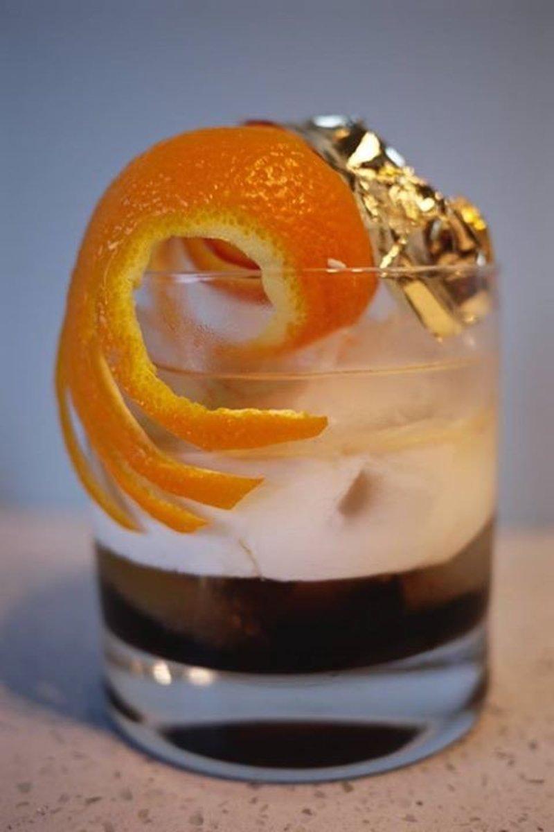 White Russian with thin orange peel