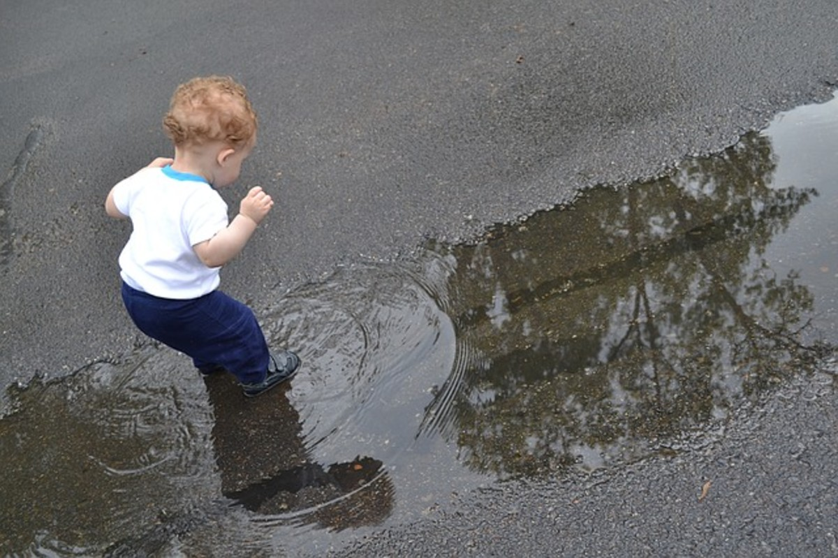 A toddler is amazed by the splash he creates in a puddle.