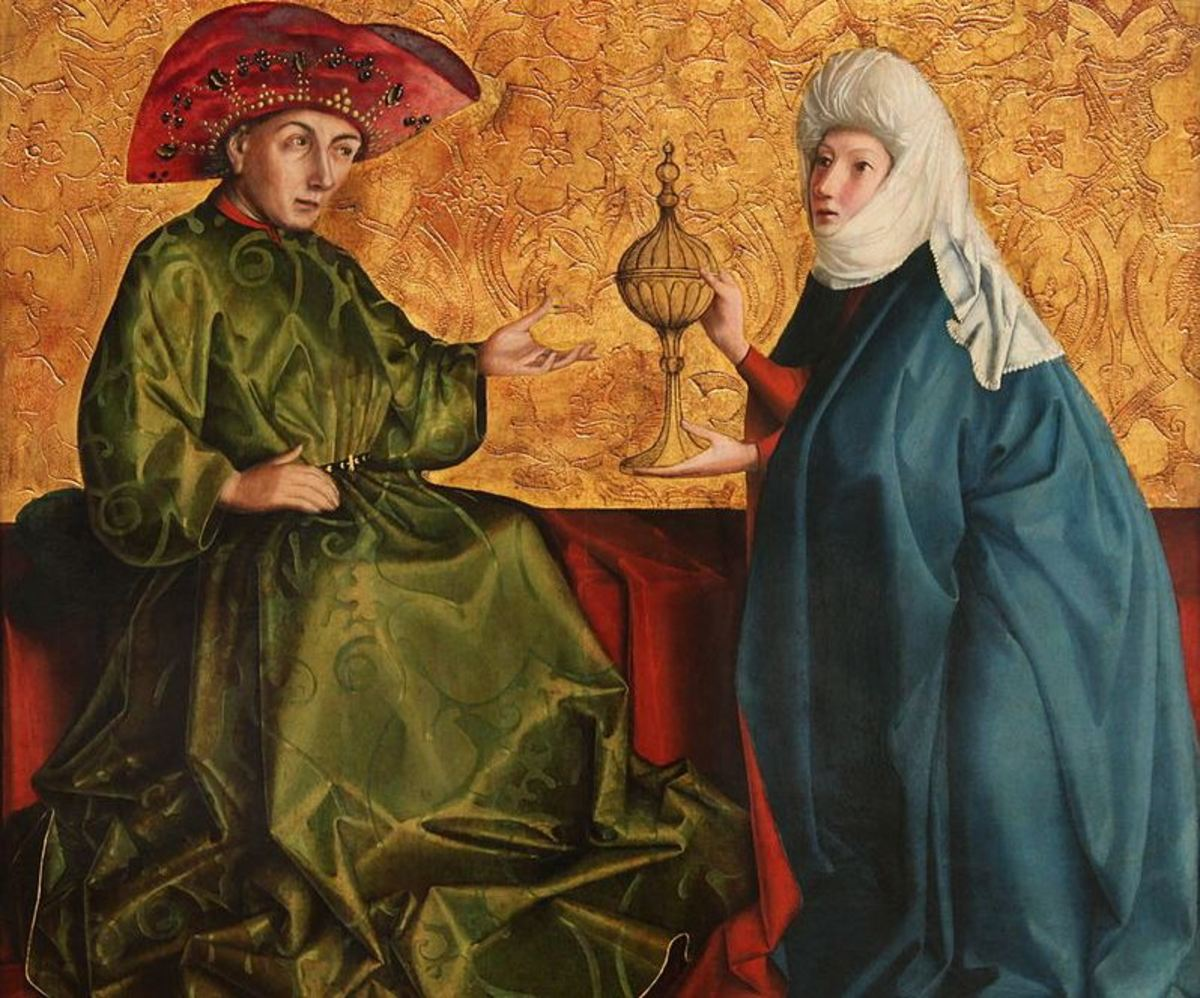 King Solomon and the Queen of Sheba.  Portrait by Konrad Witz (c. 1434-1435)