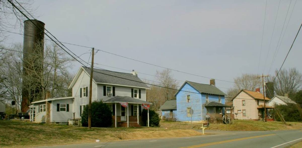 Part of a North Carolina mill village. These larger homes would have been rented to supervisors in the mill.