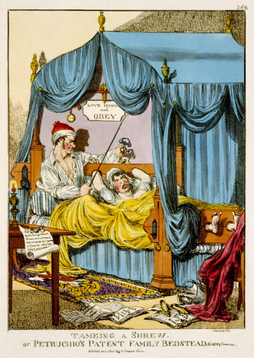 """""""Tameing a Shrew; or, Petruchio's Patent Family Bedstead, Gags & Thumscrews"""" - From Thomas Tegg's Caricature Magazine, Williams, 1815"""