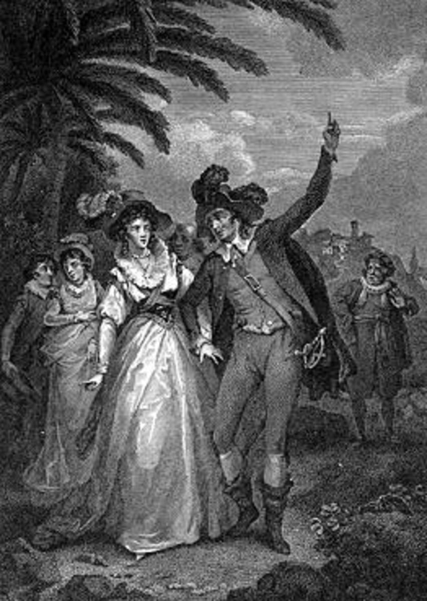 Petruchio forces Katherina to call the sun the moon in The Taming of the Shrew. Julius Caesar Ibbetson; engraver Isaac Taylor.
