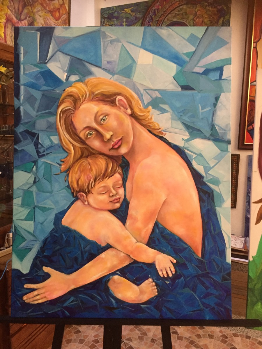 Sapphire Madonna and Child,from her Madonna and Child series, from the private collection of Dan and Winnie Parungao