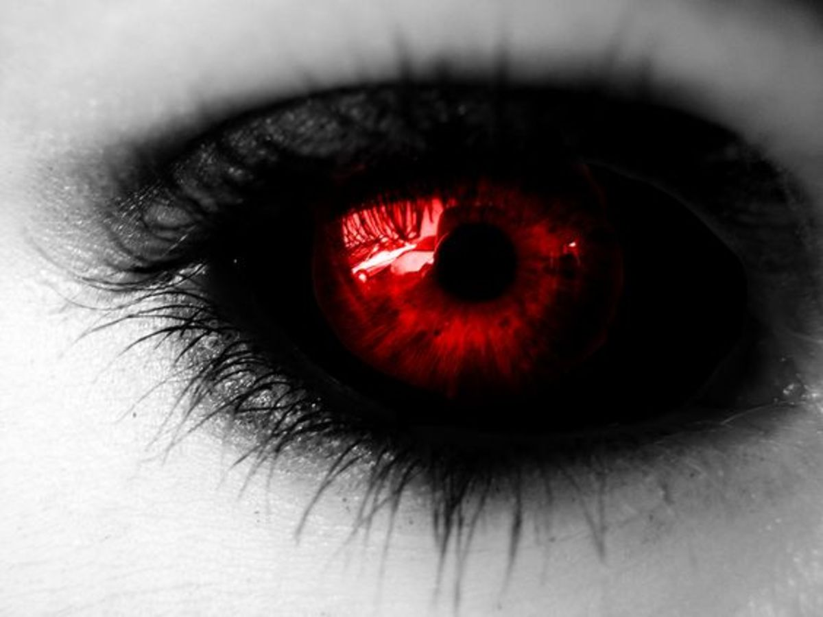 Red Demon eyes filled with fire of Hell | Source