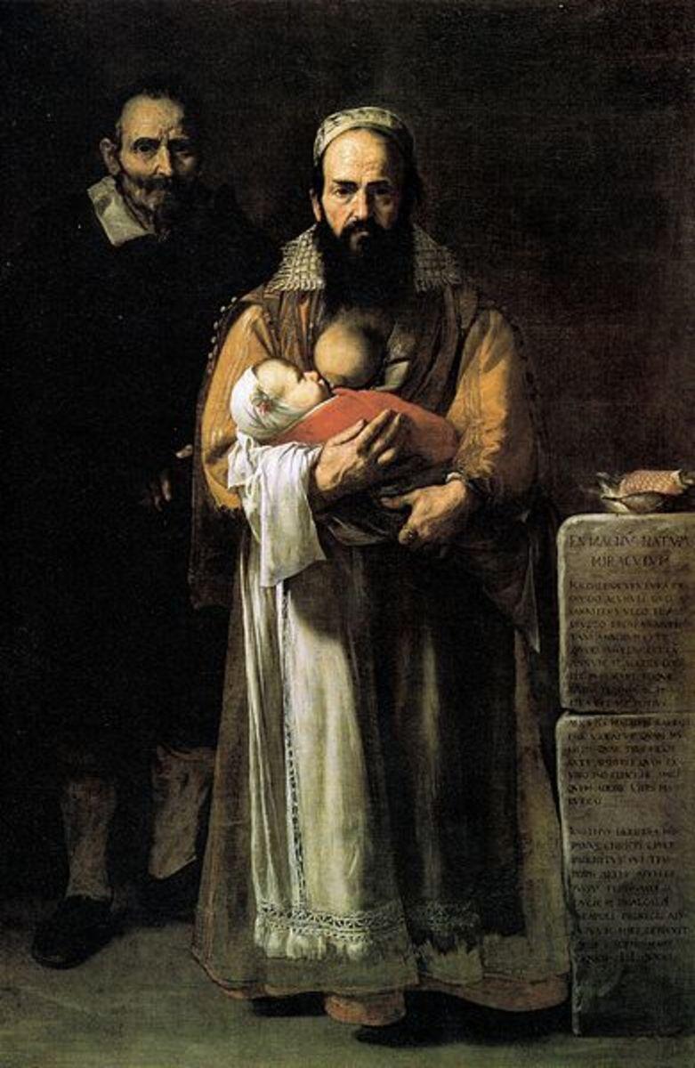 Bearded lady breastfeeding