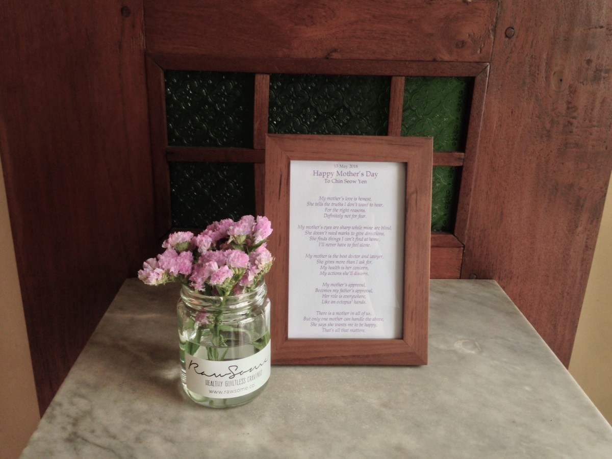 poem and flowers for my mum