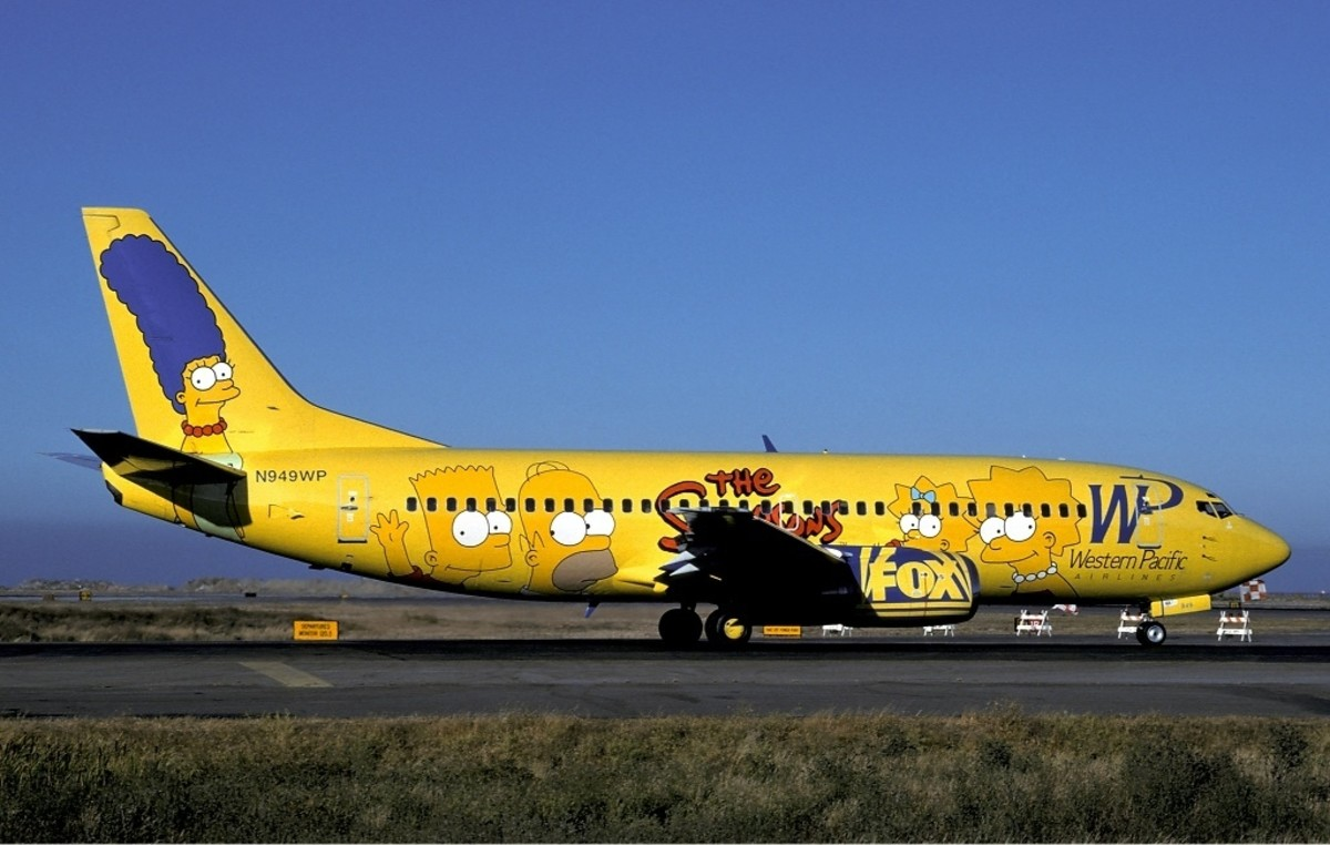 "By Sunil Gupta, Western Pacific Airlines Boeing 737-300 in special ""The Simpsons"" livery"
