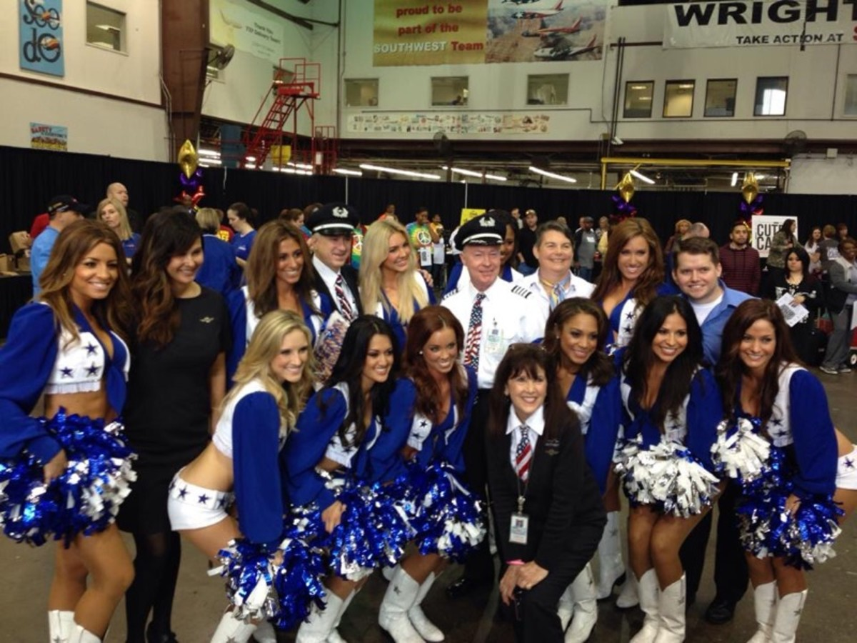 The Southwest crew with the Dallas Cowboy Cheerleaders