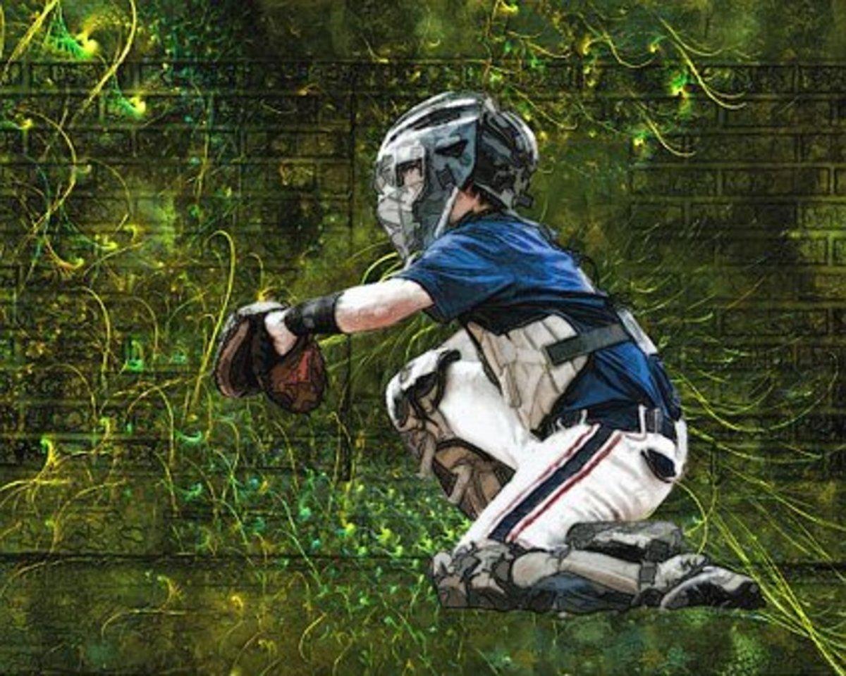 a baseball catcher
