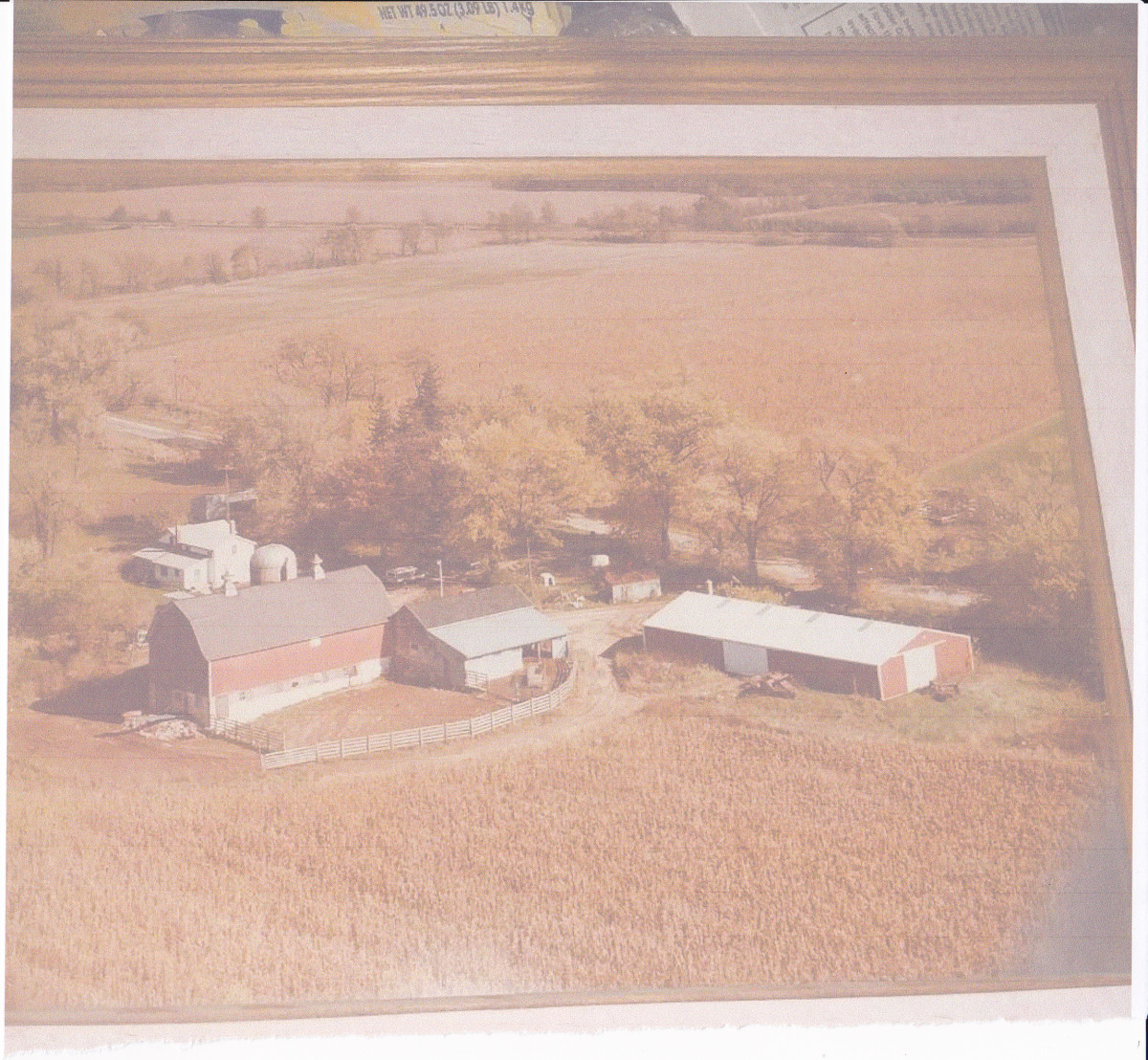Picture taken around 1975.  The long red machine shed on the right was built in 1971.  Half of the farm land is shown.  The creek, woods, and land in back of the woods is not shown.