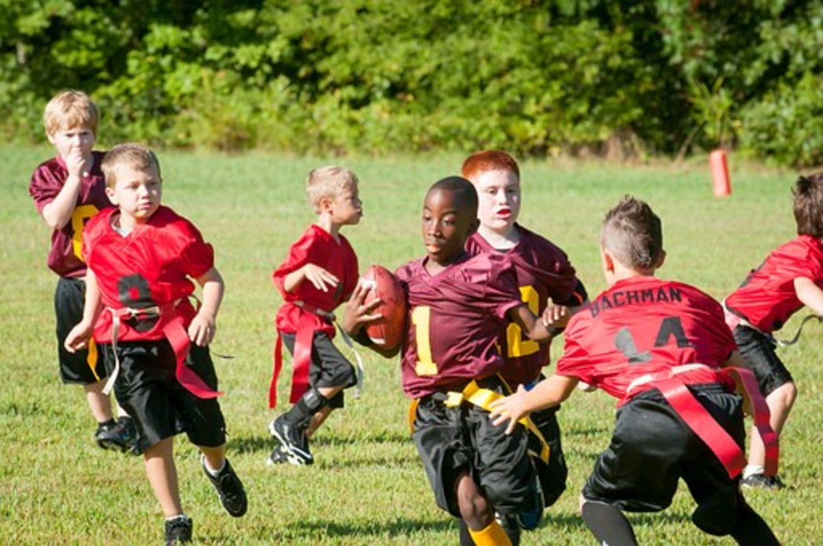 A flag football game