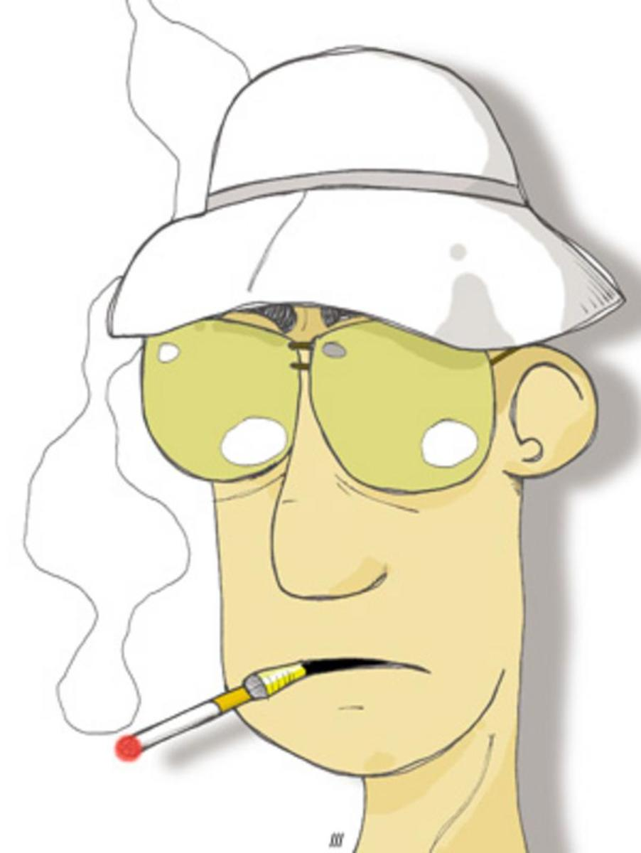 A caracture of Dr. Hunter S. Thompson.