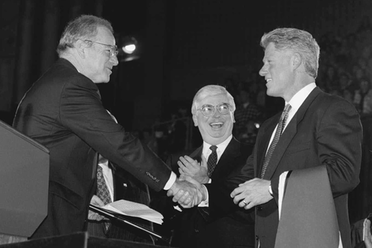 Rome here with former president, Bill Clinton, and CT. Senator, Christopher Dodd, was instrumental in securing the passage of the UConn 2000 legislation to renew the university's infrastructure.