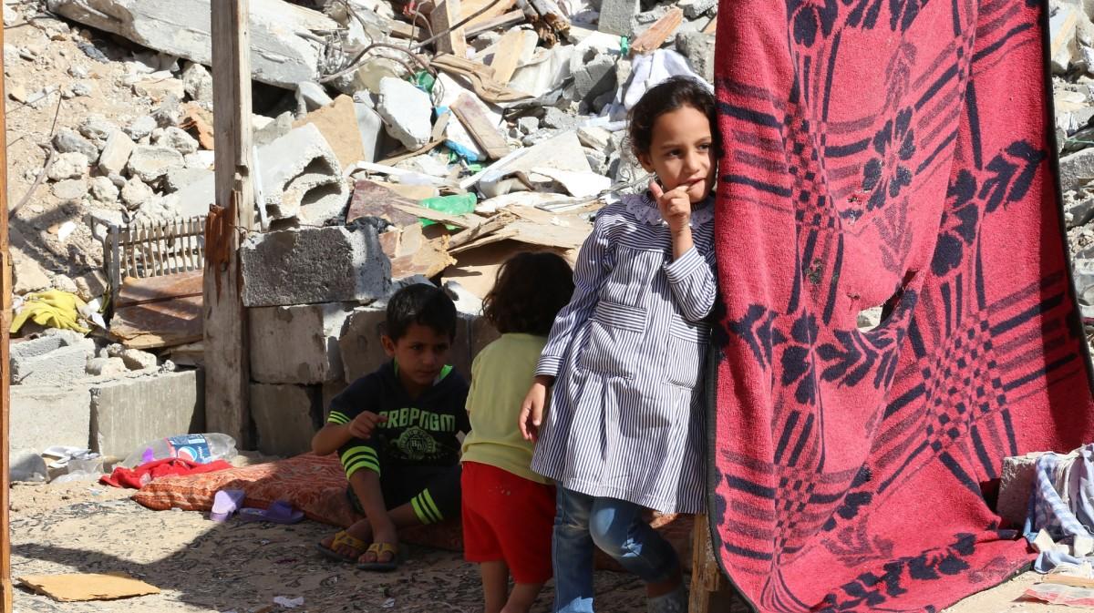 Children amid debris: Palestine, Gaza Strip