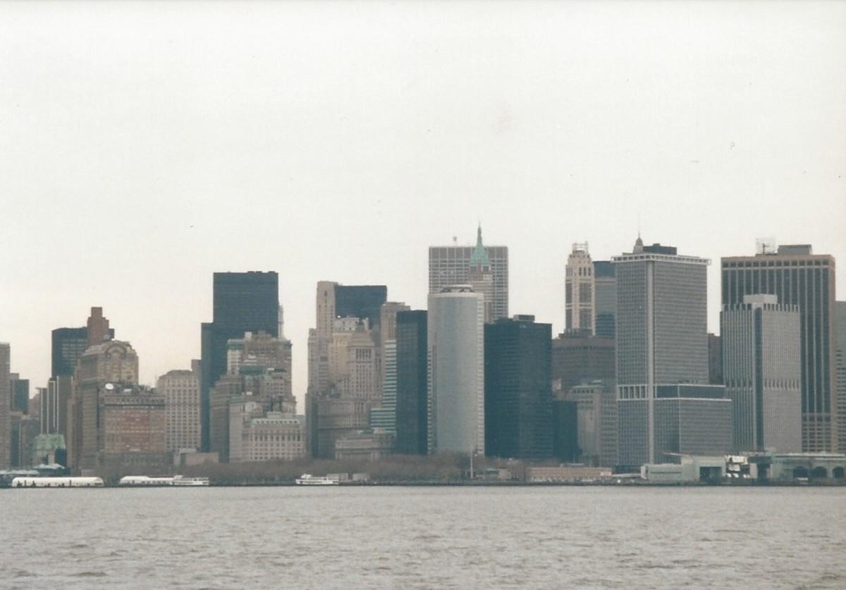 Lower Manhattan from the Staten Island Ferry, December 2002.
