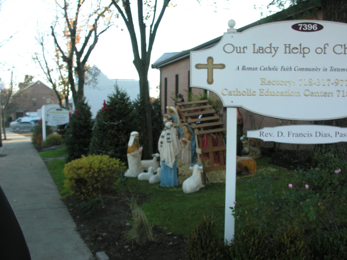Creche outside the church, Our Lady Help of Christians, Staten Island, December 2015.